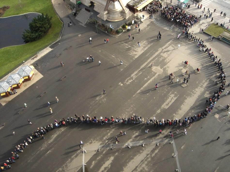 Eiffel Tower Line, Tourists in Paris