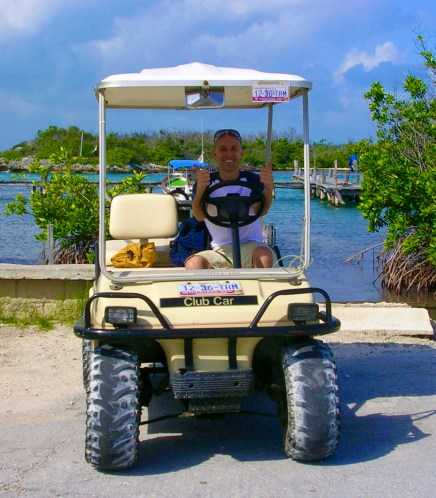 A golf cart in Isla Mujeres with Dom Nemer