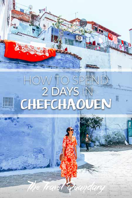 Jasmine of The Travel Quandary stands in one of the squares of Chefchaouen, Morocco