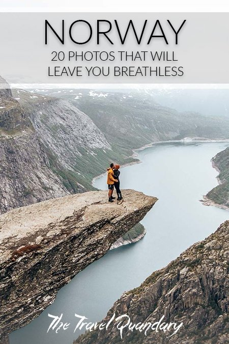Pin to Pinterest: A couple share a kiss standing on Trolltunga looking over a majestic fjord, Norway