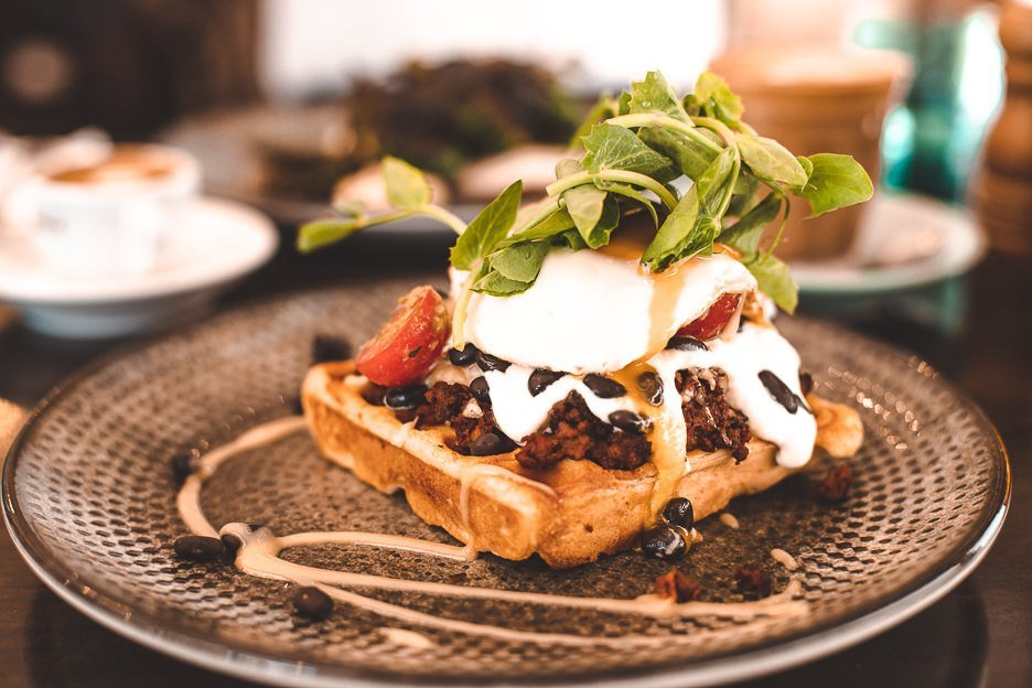 Gringo Waffle with savoury mince at Lady Marmalade Cafe, brunch in Brisbane