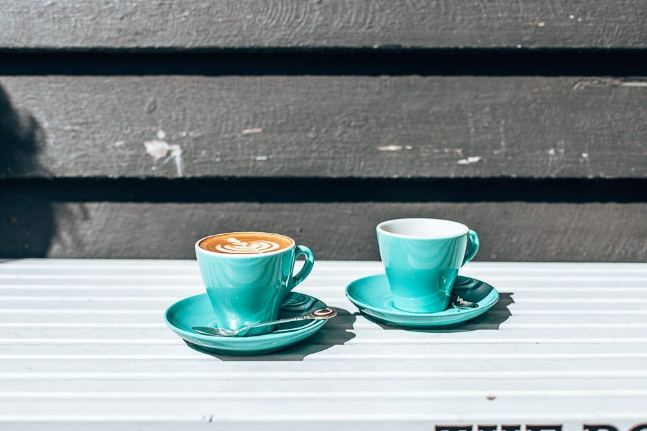 Tiffany blue cups of coffee at Dovetail on Overend, Coffee in Brisbane southside