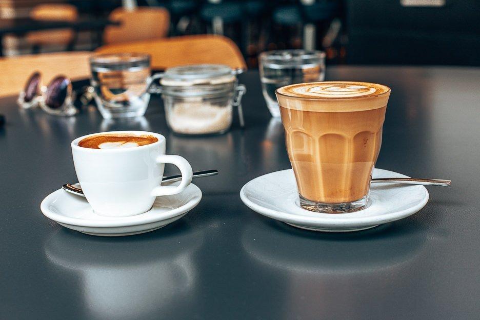 Long macchiato and latte at Pourboy, Coffee guide Brisbane CBD & Inner Suburbs