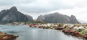 The township of Reine under grey skies - Lofoten Islands, Norway