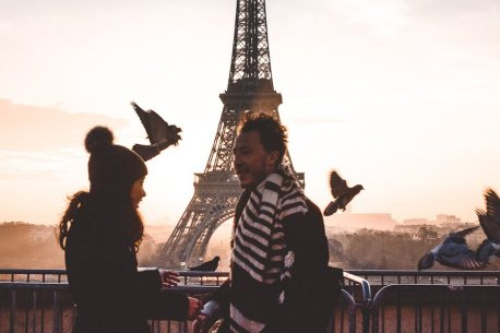 A candid morning at sunrise at the Eiffel Tower, Paris