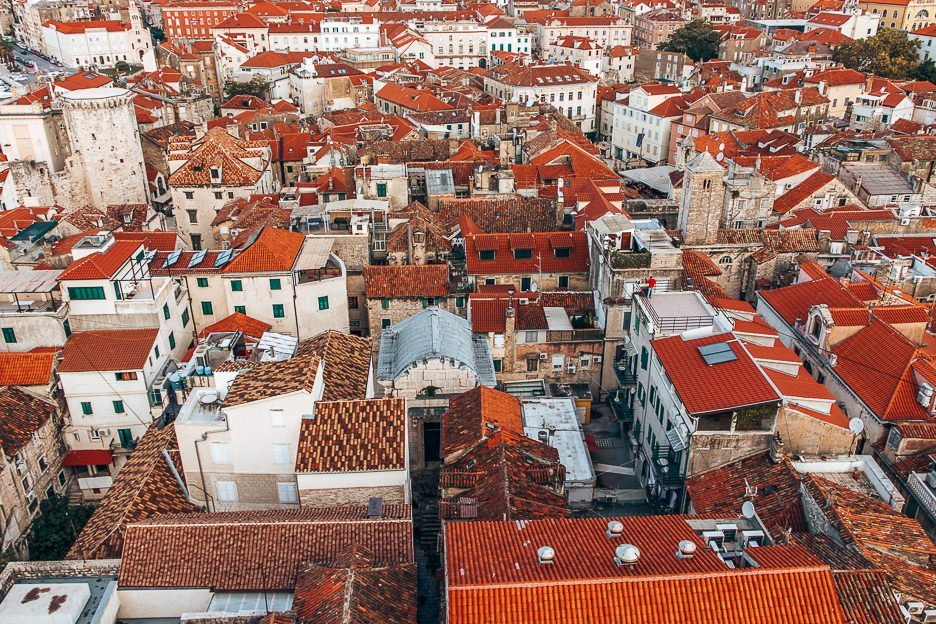 Red rooftops of Diocletian's Palace from atop the Cathedral of St Domnius, Split Croatia