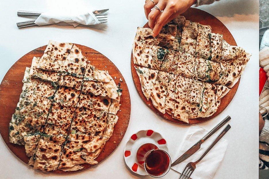 Delicious gozleme at Gozlemece, Istanbul