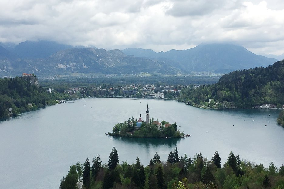 View over Lake Bled from Ojstrica lookout, Slovenia