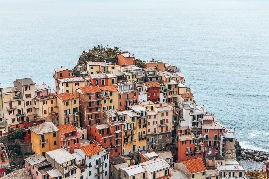 Orange, yellow and red houses of Manarola, Cinque Terre