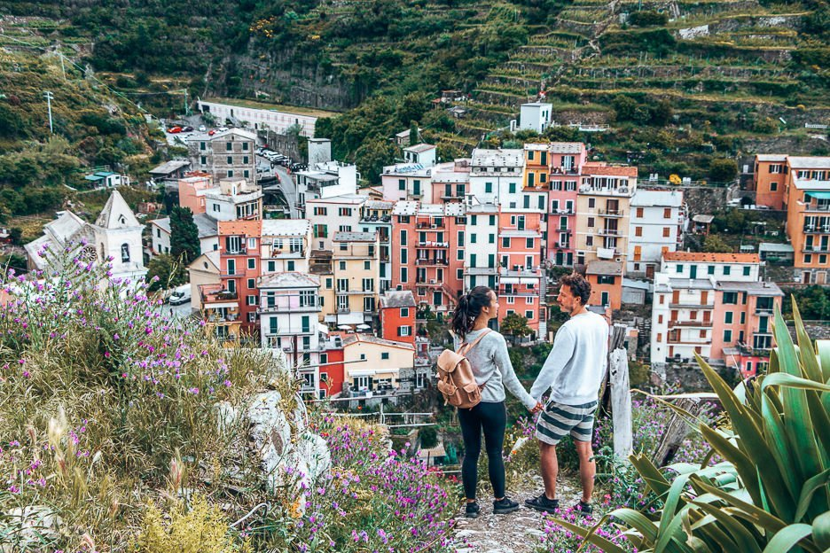Jasmine and Bevan admiring the view of Manarola on a Cinque Terre hike, Italy