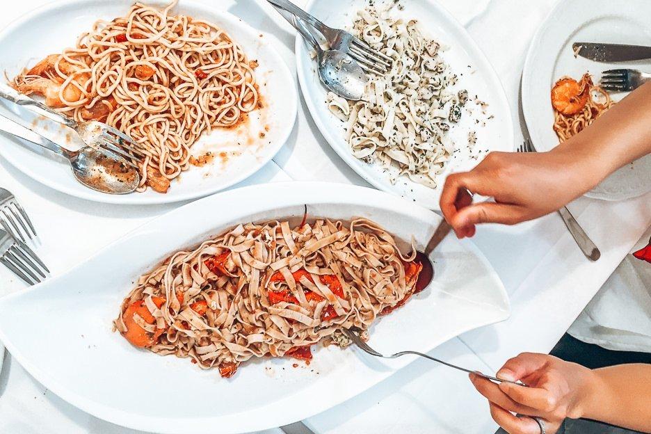 Seafood and pasta at Trattoria dal Billy, Manarola