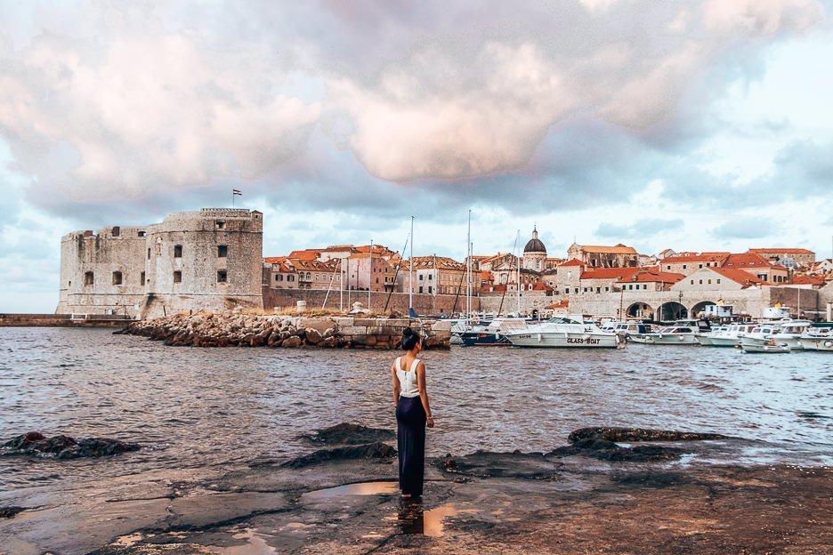 Jasmine looking out at Dubrovnik Old Port - Dubrovnik, Croatia