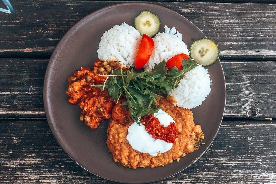 Steamed white rice, roasted vegetables and lentils make a vegetarian lunch at Laibon, Cesky Krumlov