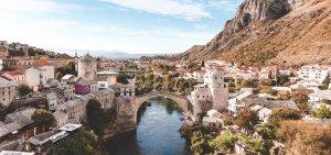 View of the Stari Most in Mostar, Bosnia & Herzegovina
