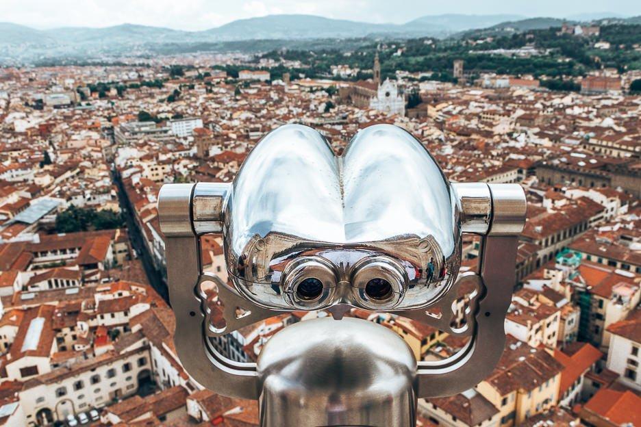 Lookout binoculars from atop Bruneschelli's Dome, Florence