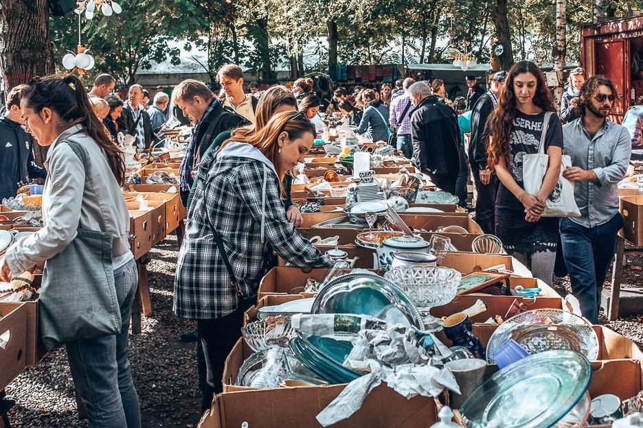 Searching for treasure at Fleamarket at Mauerpark, Berlin