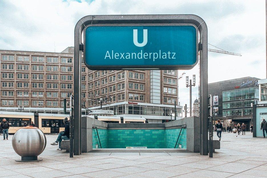 Entrance down into Alexanderplatz U-bahn station, Berlin