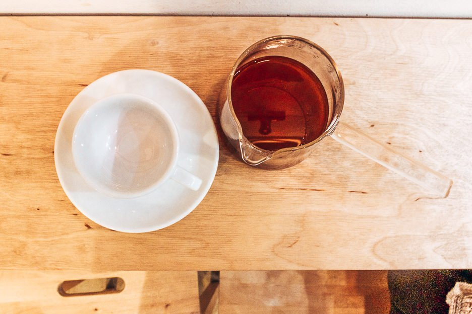 Flatlay view of filtered coffee at Kontakt, Budapest Hungary