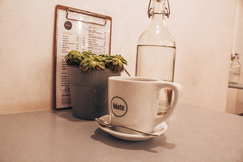 Latte at Fekete Coffee, Budapest Hungary