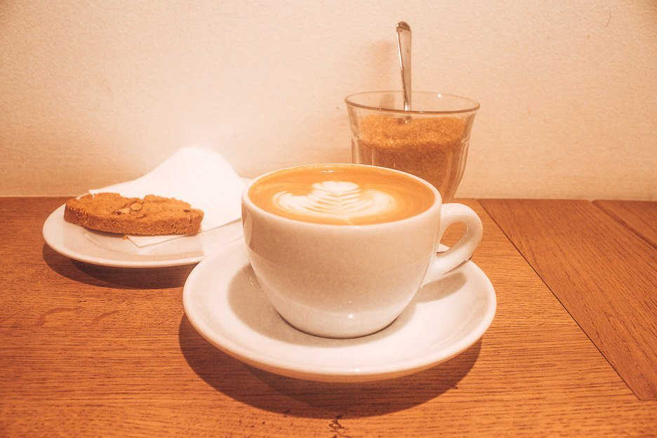 Coffee and biscuit at Espresso Embassy, Budapest Hungary