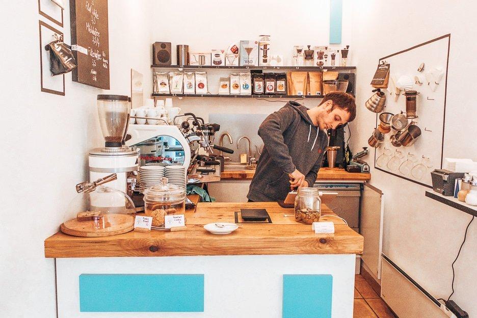 Barista making coffee at Kaffeemodul, Coffee in Vienna Austria