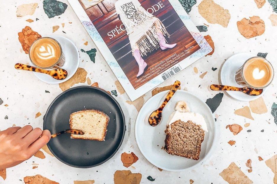 Coffee, cake and geometric table at Toki
