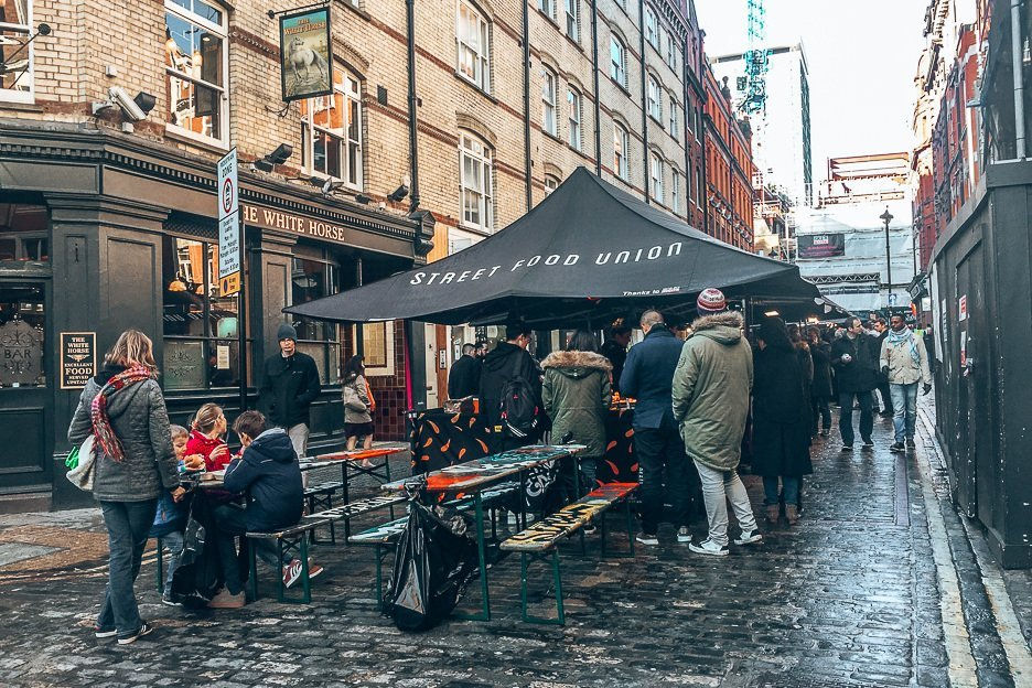 Food stall at Street Food Union Market in SoHo London