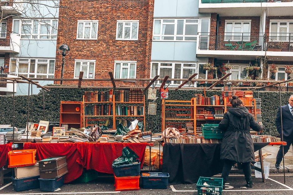 Vintage books for sale at Portobello Road Market, Notting Hill, London Market Guide