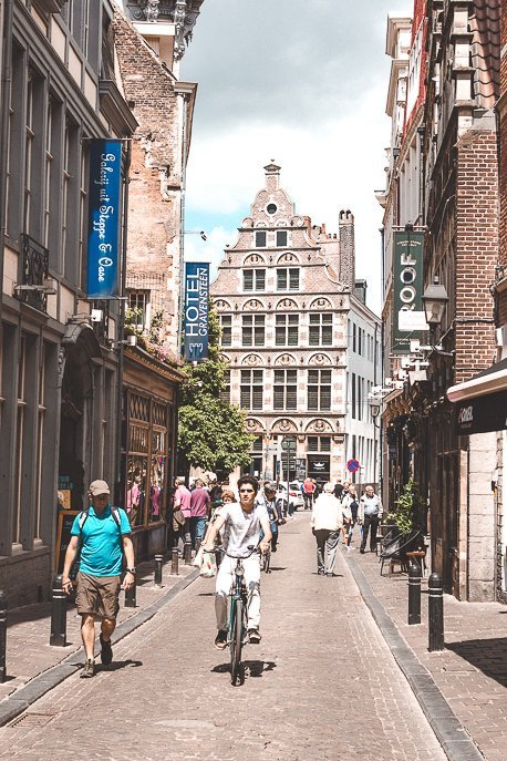 A cyclist in Ghent, Belgium