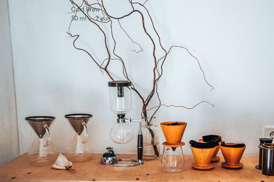 Coffee brewing equipment at Crooked Nose & Coffee Stories, Vilnius