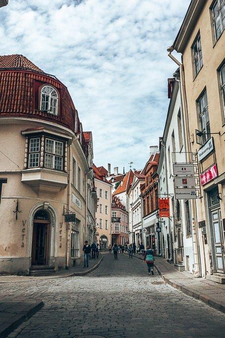 Cobblestone streets in the Old Town of Tallinn, Estonia