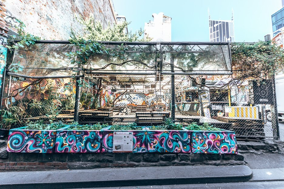 Outdoor beer garden at Section 8 - where to drink in Melbourne, Victoria