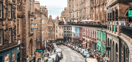 Looking down crowded West Bow in Edinburgh, Scotland
