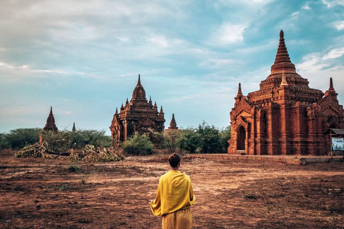 Lee at temples in Bagan
