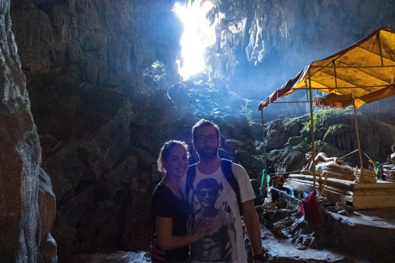 Couple inside Tham Phu Kam Cave in Vang Vieng Laos