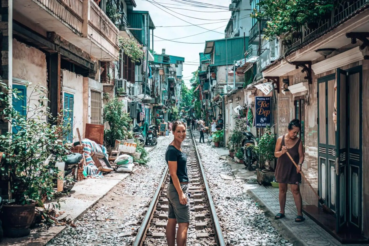 Picture of girl on Train Street in Hanoi, Vietnam