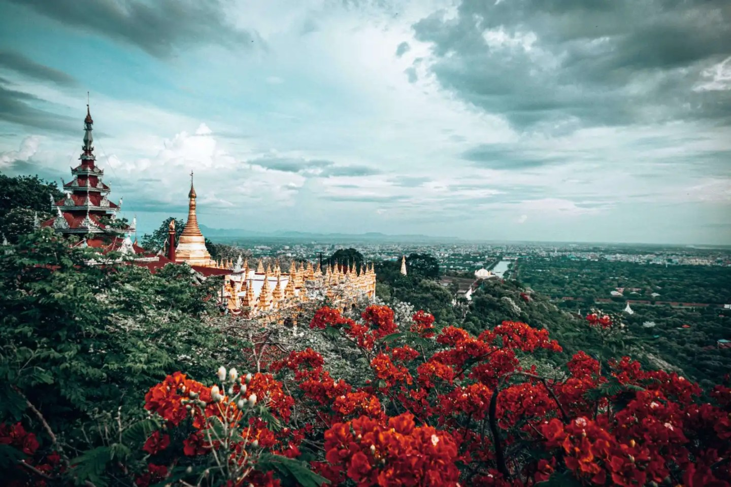 Picture of flowers and the view at Mandalay Hill in Mandalay, Myanmar