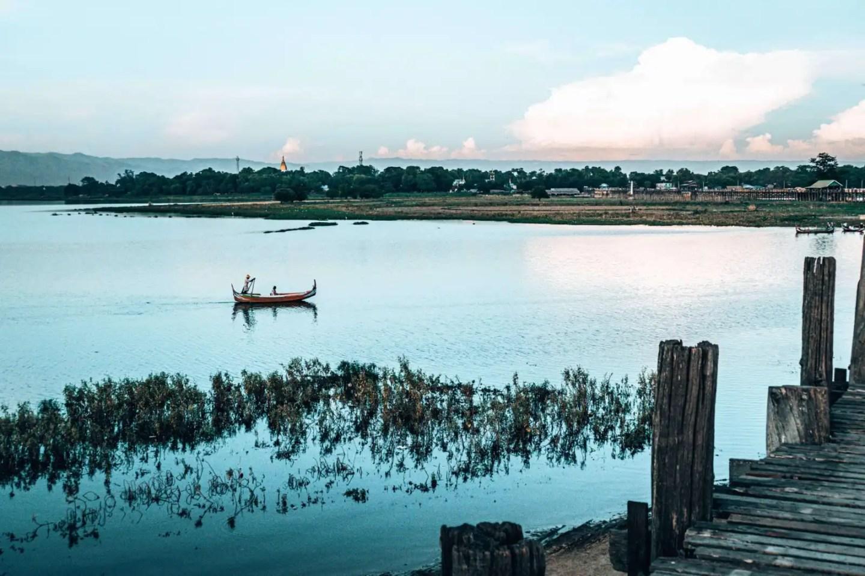 Picture of the water by U-Bein bridge in Mandalay Myanmar