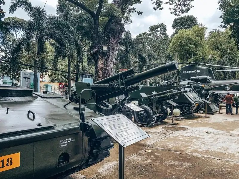 Picture of artillery at the War Remnants museum in Ho Chi Minh City Vietnam