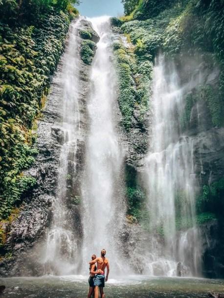 Sekumpul Waterfall - couple in the waterfall pool