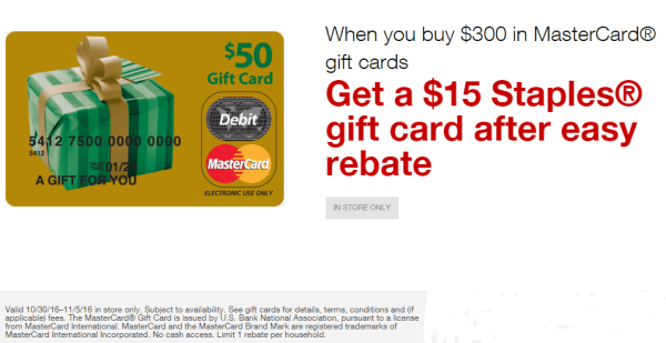 staples easy rebates mastercard october 30 november 5 2016