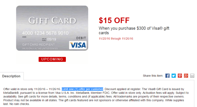 $15 Instant Discount Off $300 Purchase of MasterCard Gift Cards at OfficeMax Office Depot