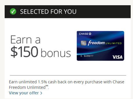 chase freedom unlimited preapproved