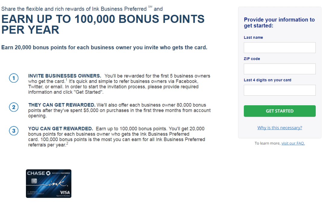 Earn 20K Points For Each Referral to the Chase Ink Business Preferred Card (If You Have a Chase Ink Business Preferred or Ink Plus)