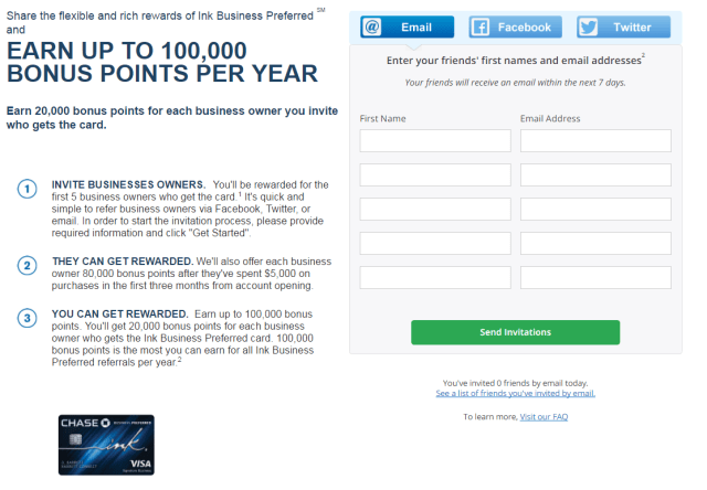 Chase Ink Business Preferred Ink Plus referral 20K