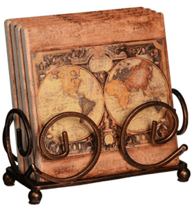 Coasters with Holder, Includes Old World Map one of the best gifts for people who love to travel