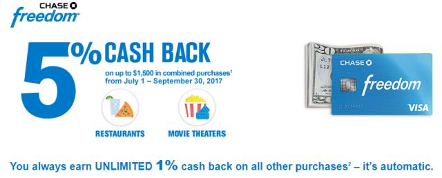 chase freedom q3 2017 quarter 3 2017 5 cash back categories