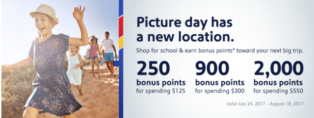 southwest online shopping portal 2000 bonus miles back to school bonus