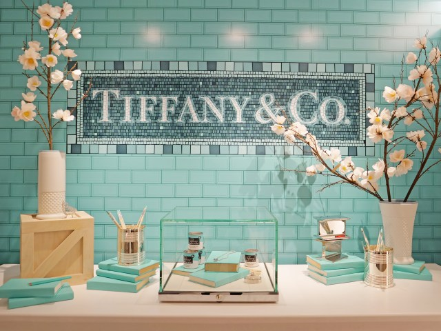 NYC Tiffany and Co Valentine's Day Subway Flower Installation blue tiles
