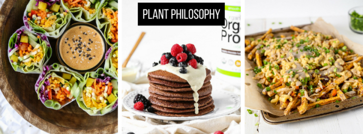 "Images of vegan meals from plant philosophy blog including Rainbow Zoodle Spring Rolls + Almond Butter Dipping Sauce, Gluten-Free Chocolate Protein Pancakes + Almond Vanilla Probiotic ""Frosting"", and the Thanksgiving Style Poutine."